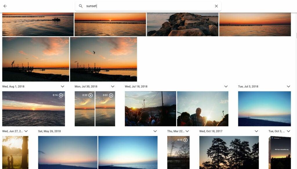Google Photos search screenshot