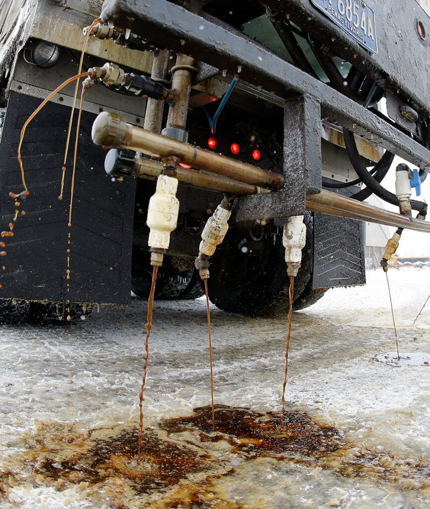 de-icer solution on the roads