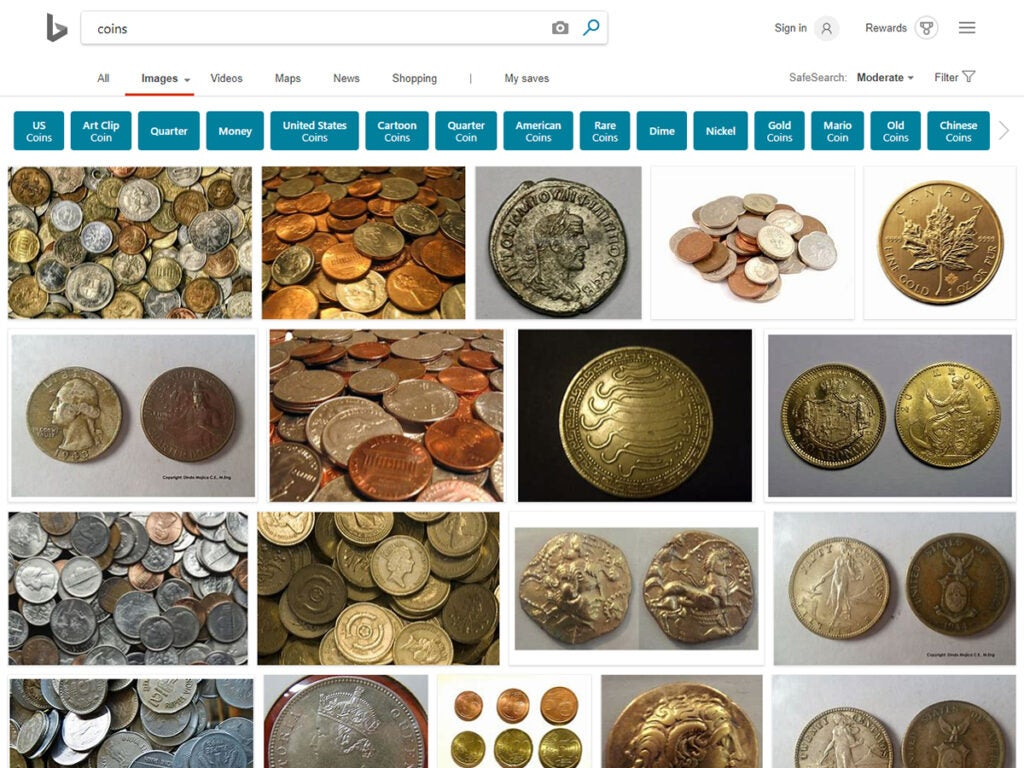 Microsoft Bing search browser for gold coins
