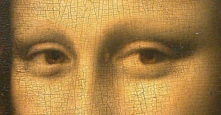 Mona Lisa cracking paint close-up eyes