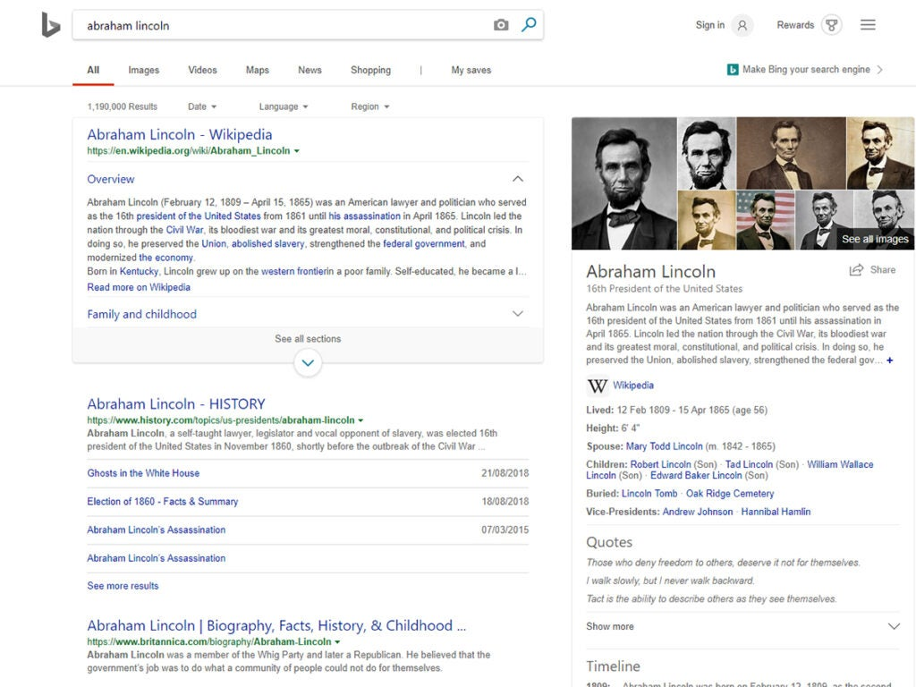 Microsoft Bing search browser for Abraham Lincoln