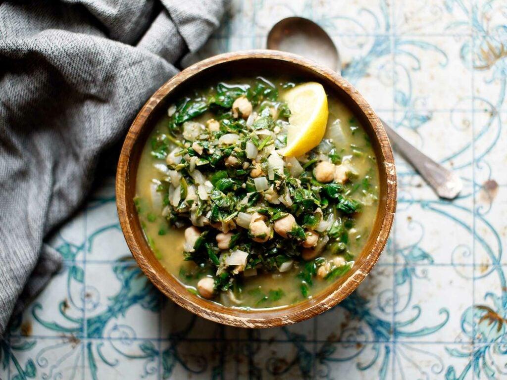 Palestinian Spinach and Chickpea Stew (Sabanekh bil hummus)