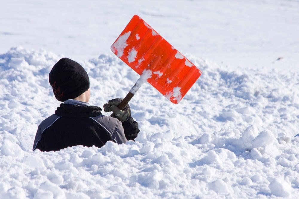 Shoveling snow polar vortex midwest winter