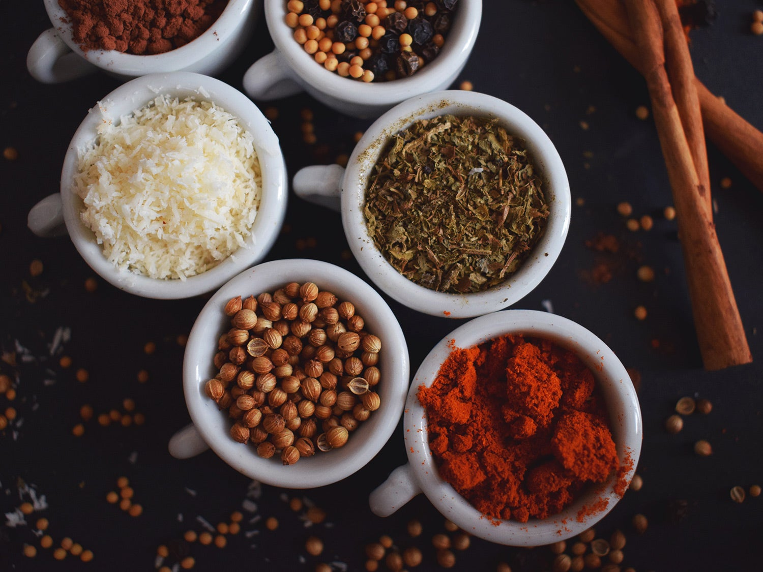 bowls full of spices