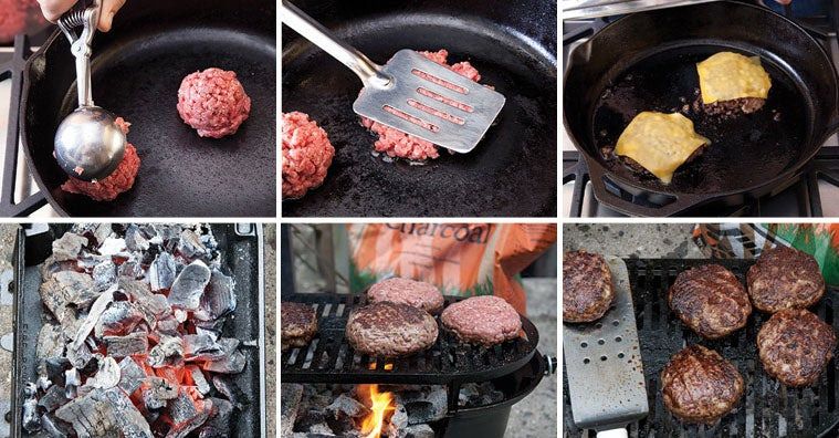 Four methods for cooking hamburgers
