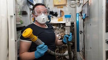 a man wearing a face mask and holding some tubes