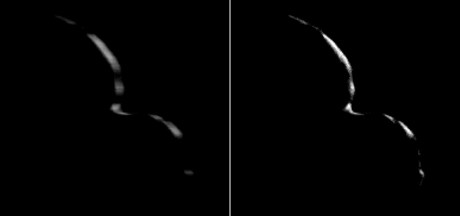 two images of a crescent in space