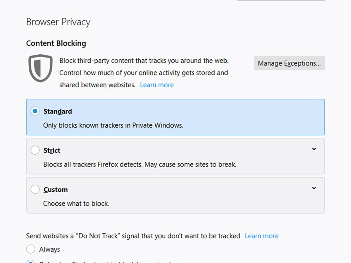 Mozilla Firefox privacy controls