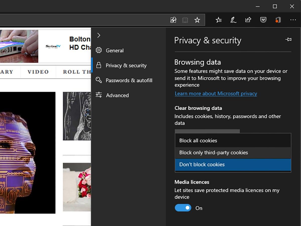 Microsoft Edge privacy controls