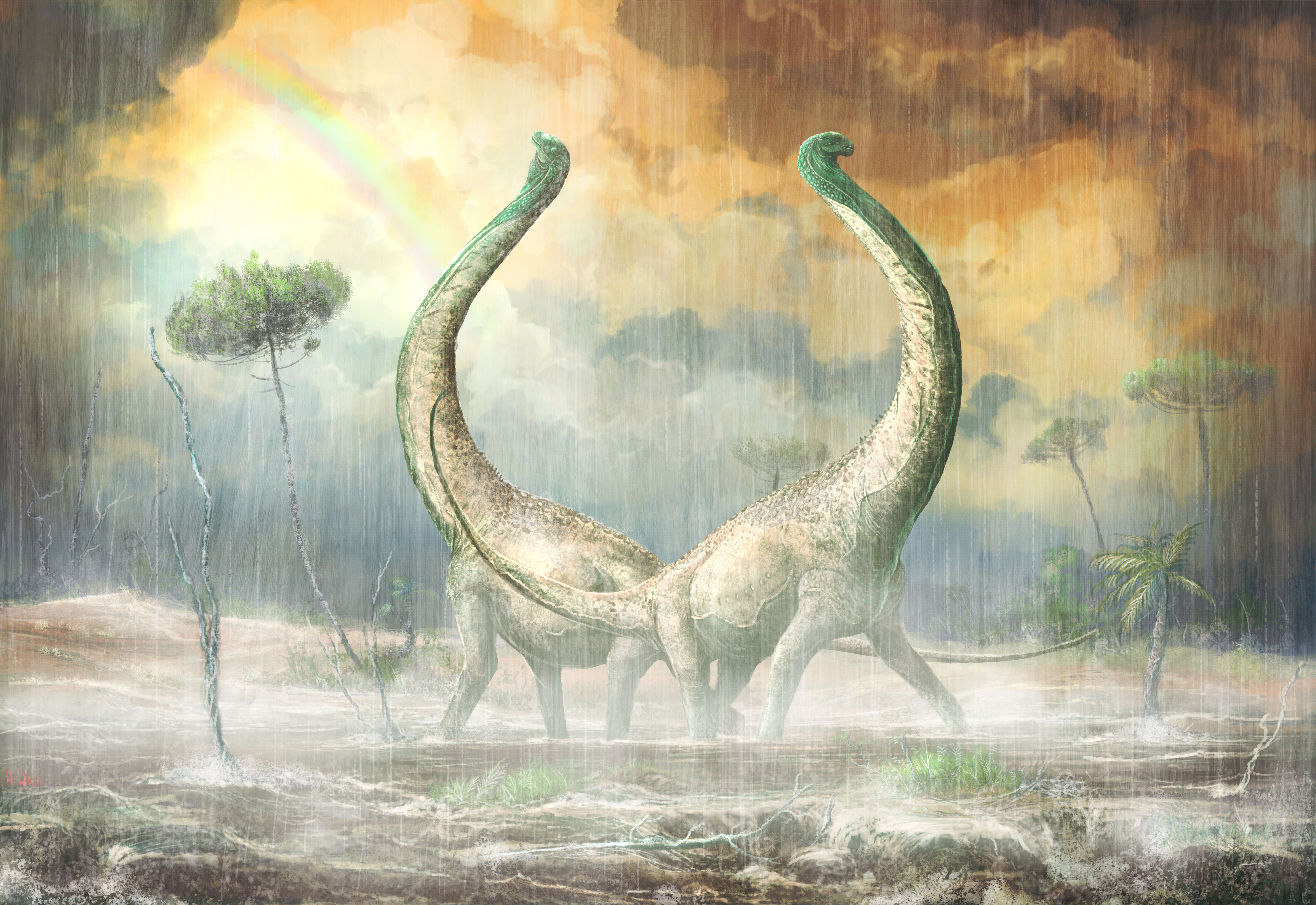 Two long-necked dinosaurs pose together in the rain