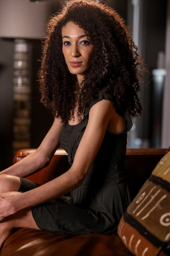 woman with dark curly hair