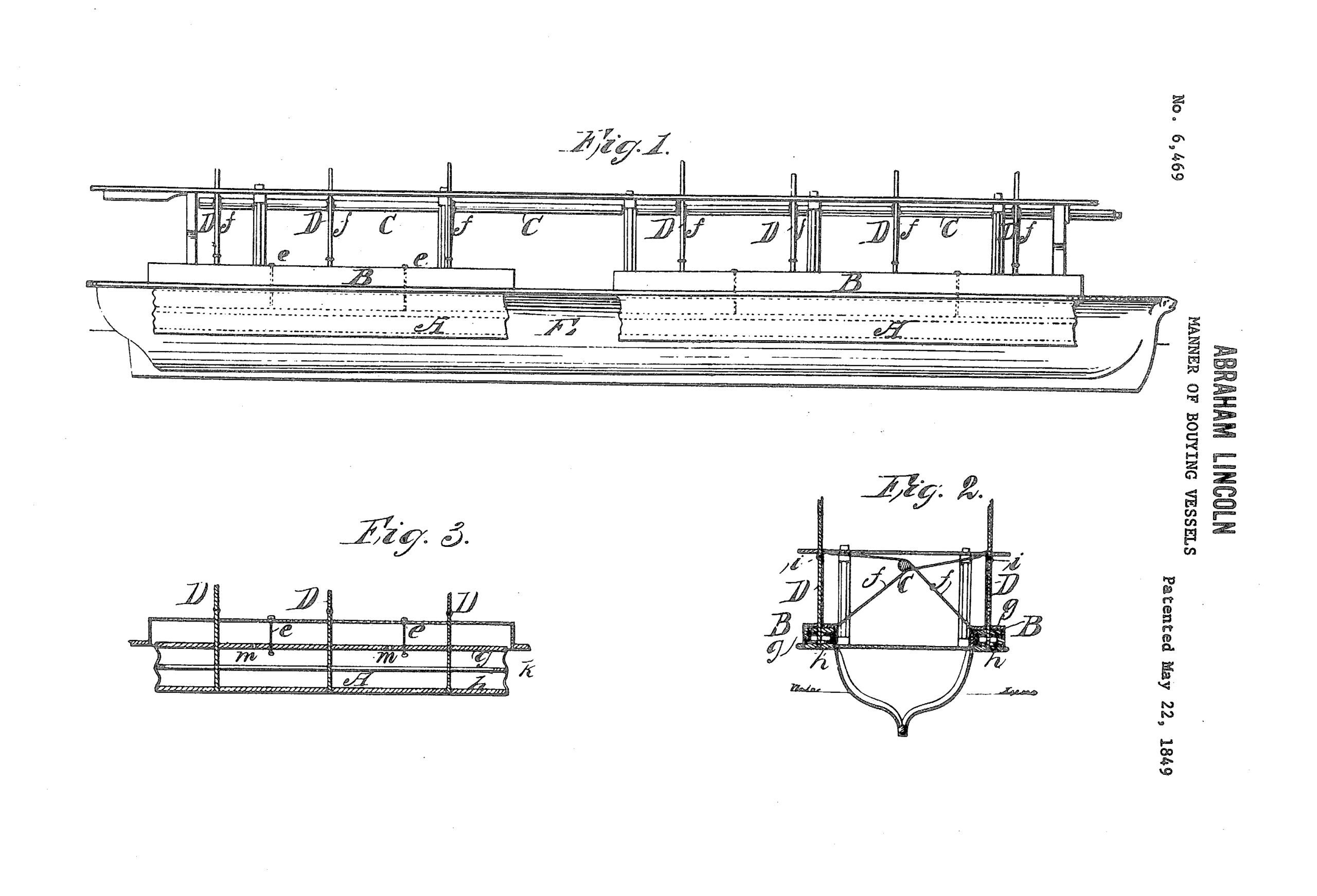 Sketches of the boat-safety device that President Abraham Lincoln patented