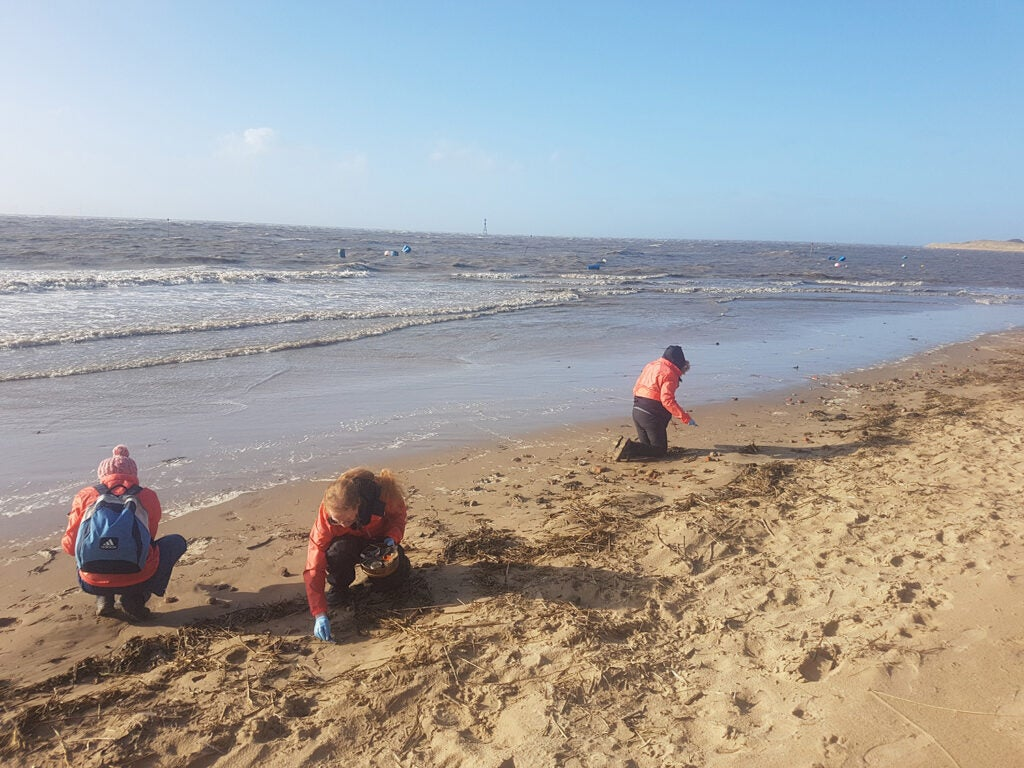 hunting for nurdles on the beach