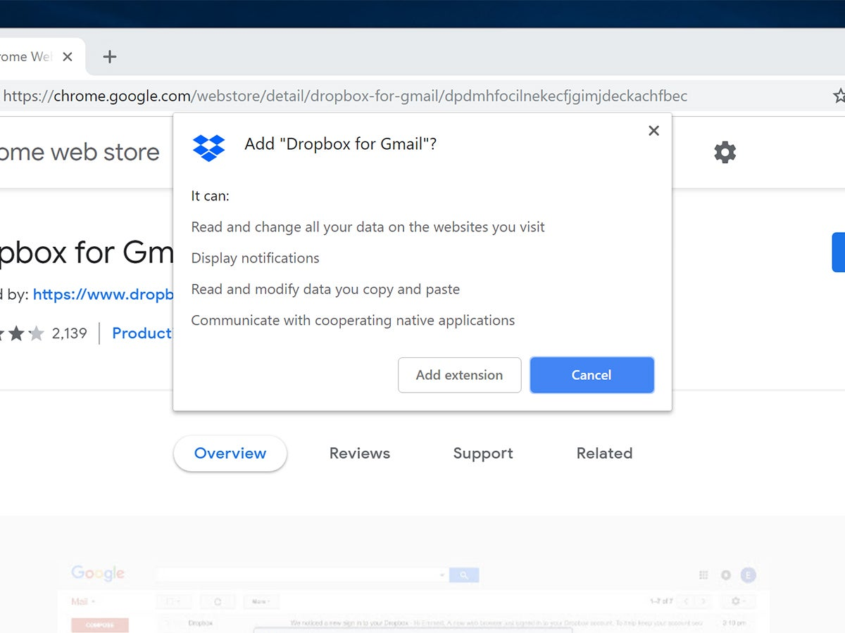 The installation process for Dropbox for Gmail extension in a Google Chrome browser.