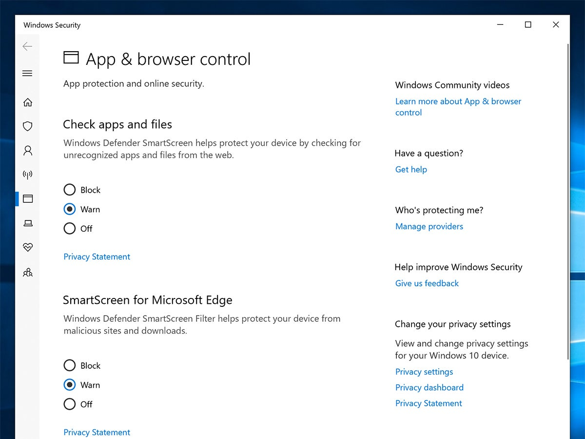 The app and browser control settings screen on Windows 10, for security.