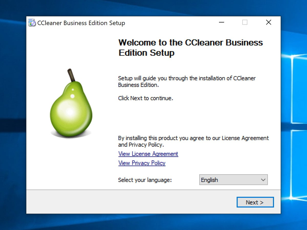 The setup process in the installer for CCleaner Business Edition.