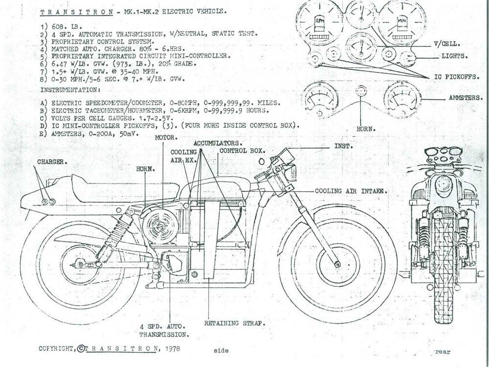 Steve Fehr's original drawing of 1978 electric harley-davidson motorcycle