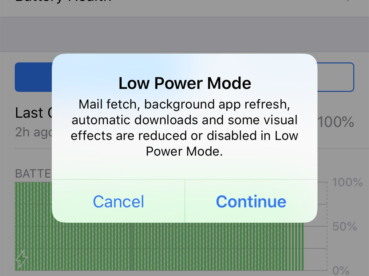 The Low Power Mode alert on iOS.