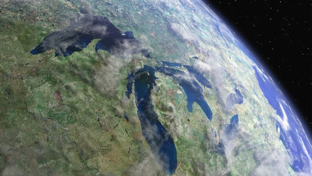 The Great Lakes as viewed from space.