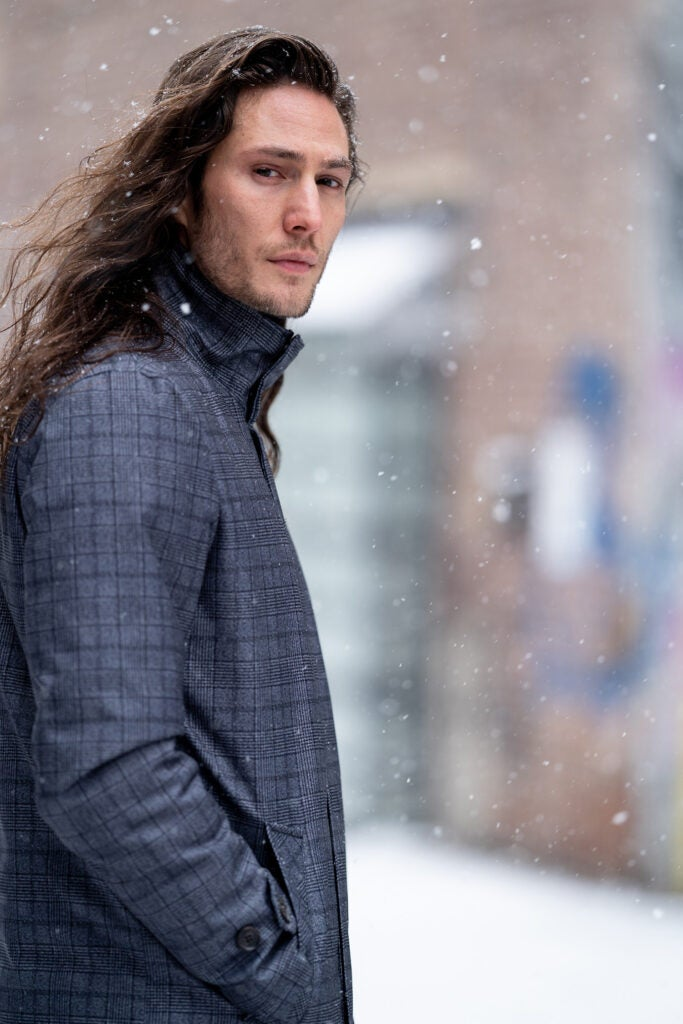 model with long hair in the snow