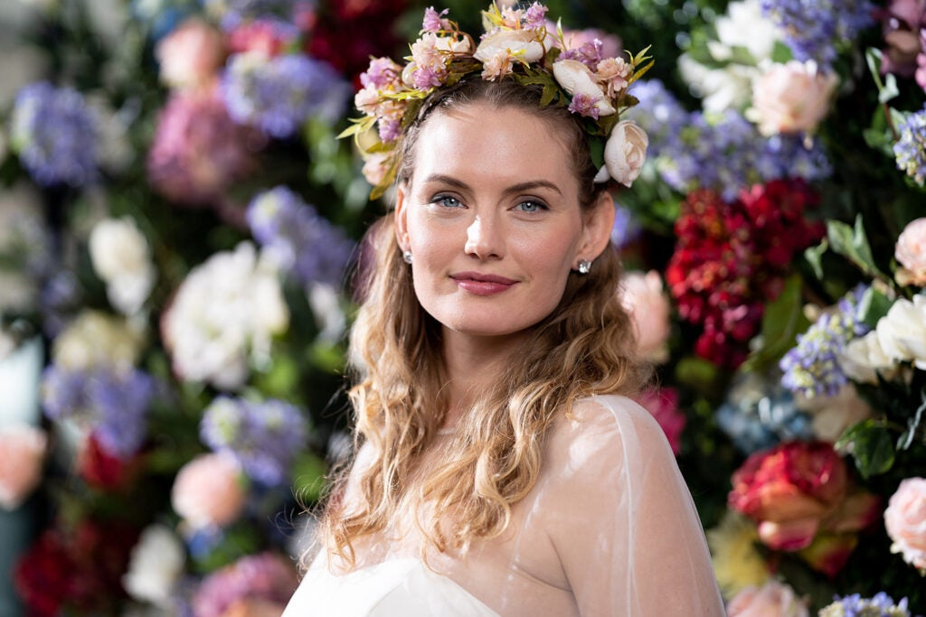 model with flower crown