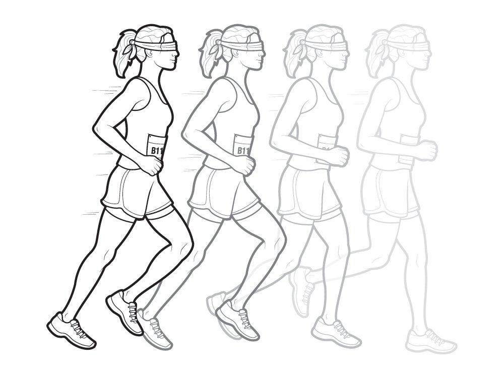 blindfolded runner
