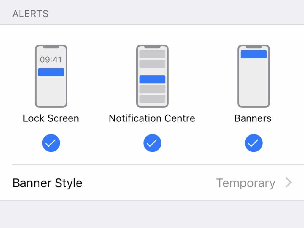 Notification settings on iOS