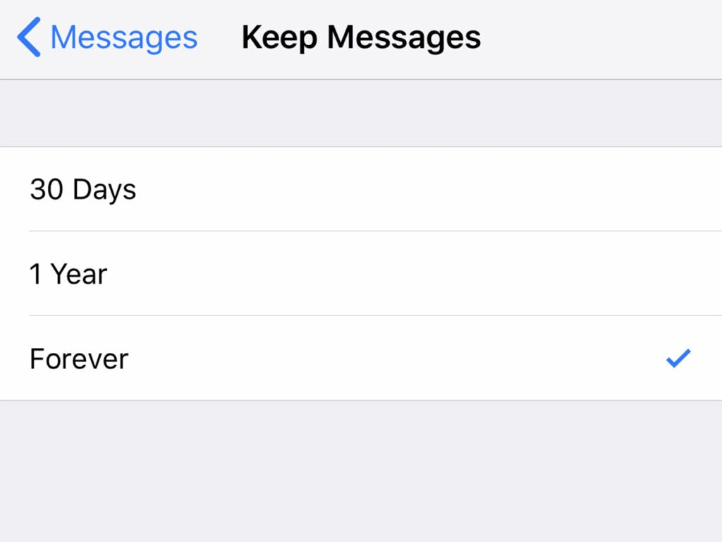 Messages app on iOS