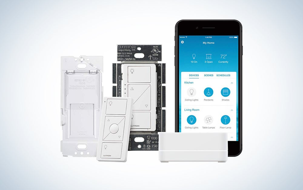 Lutron Caseta Smart Start Kit, Dimmer Switch with Smart Bridge and Wall Mount Pico Adapter