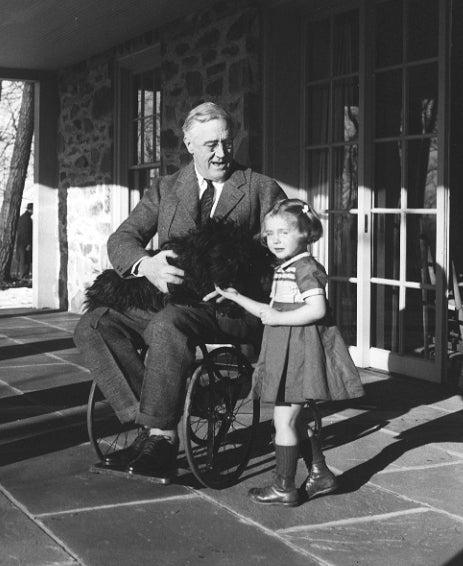 Roosevelt in a wheelchair