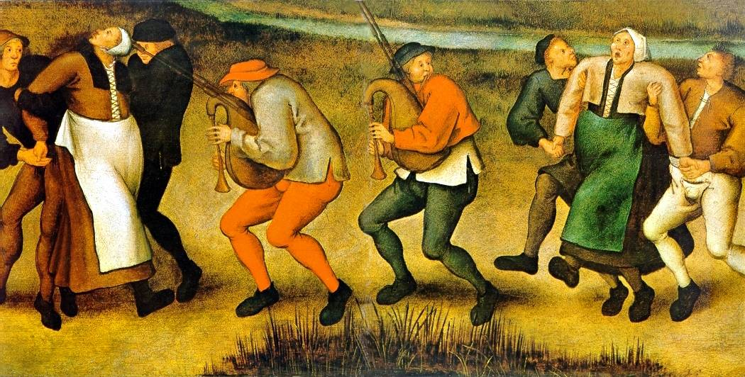 a painting of people dancing