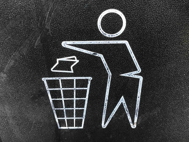 Close up of a recycle garbage bin logo at Pershing Square in Los Angeles, CA