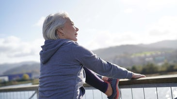 older woman stretching exercise