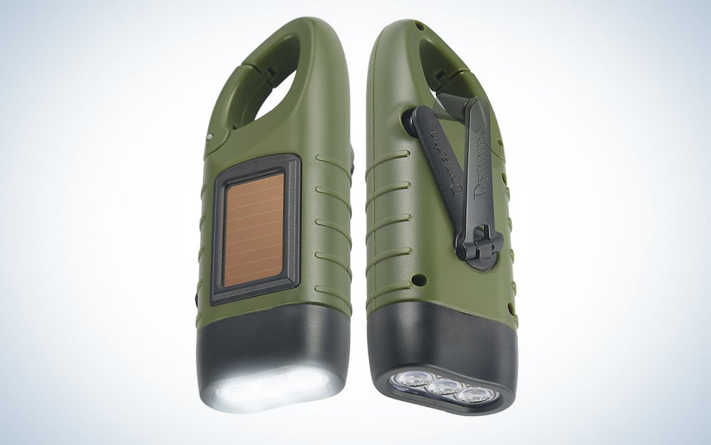 Simpeak Hand crank and solar powered LED flashlights Powered Rechargeable LED Flashlight