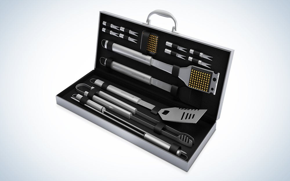 Home-Complete BBQ Grill Tools Set with 16 Barbecue Accessories