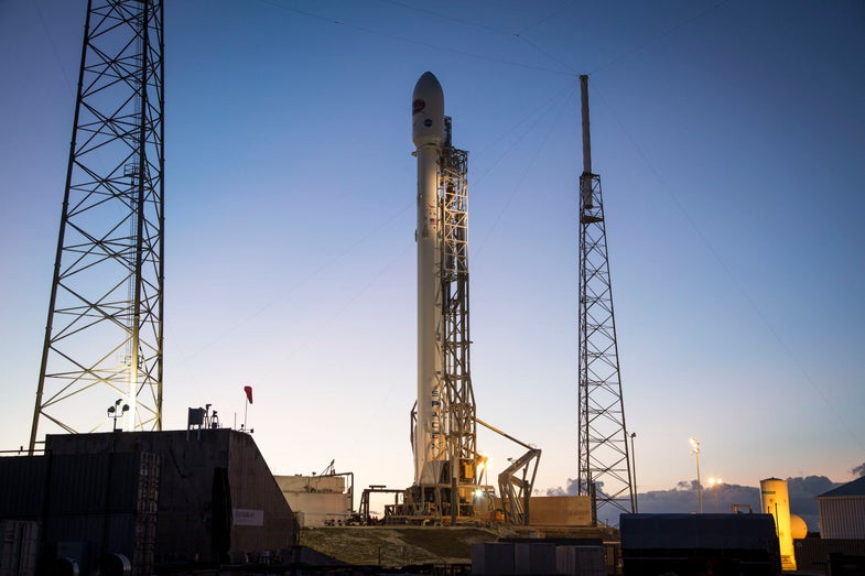 SpaceX's Falcon 9 rocket on the launchpad at Cape Canaveral