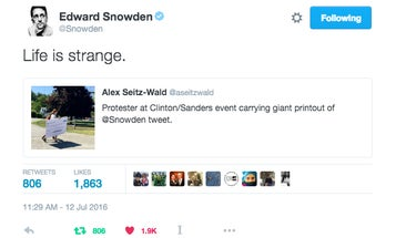 Edward Snowden Re-tweets Photo Of His Own Hillary Clinton Protest Tweet