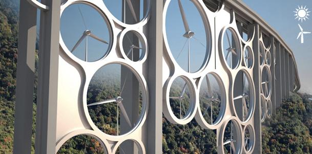 Attractive Italian Viaduct Has Wind Turbines Built In