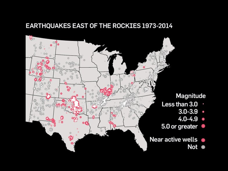 map showing that most of the mid-continent earthquakes are associated with drilling sites