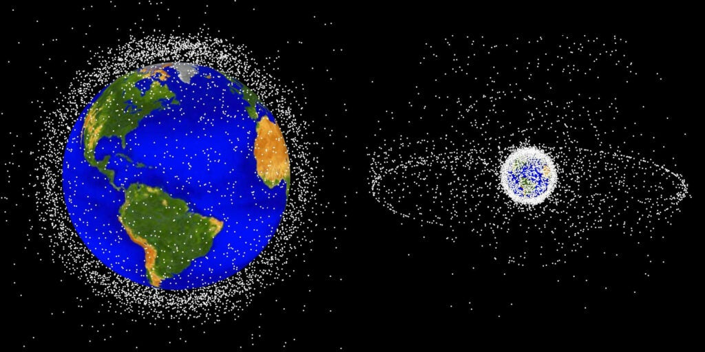 space junk surrounding earth