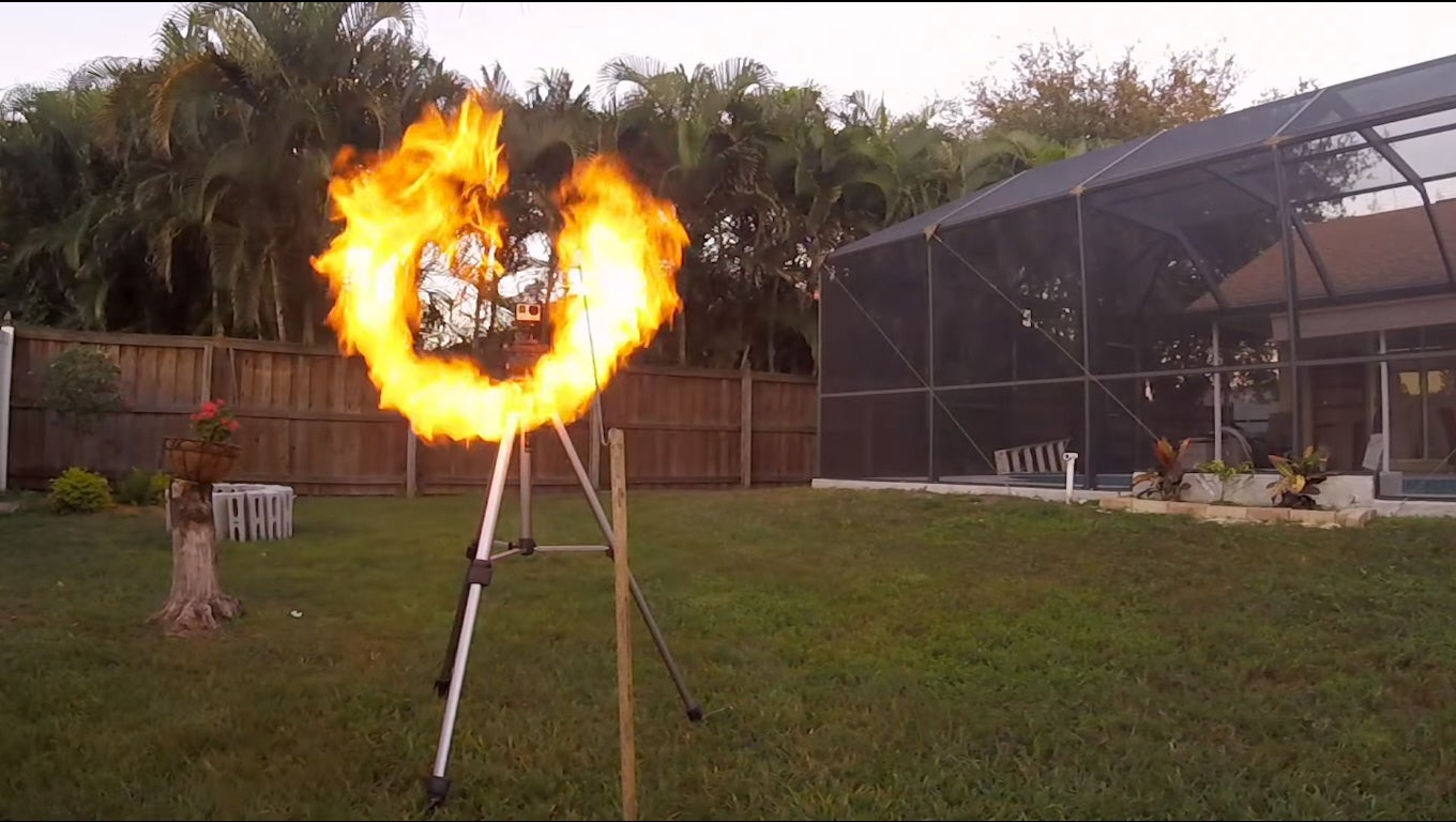 Backyard Vortex Cannon Shoots Rings Of Fire
