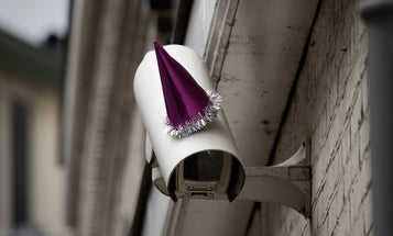 For George Orwell's Birthday, Artists Top Surveillance Cams With Party Hats