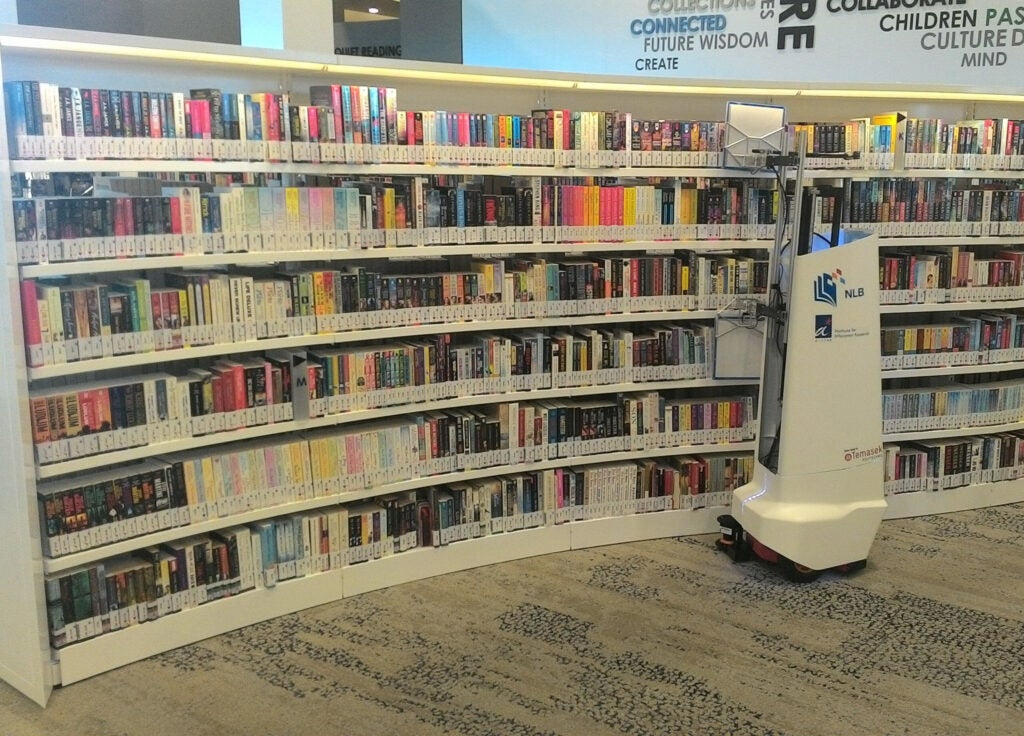 An autonomous robot developed by valuable resources is now possible thanks to robot technology developed at the Agency for Science, Technology and Research in Singapore scans a shelf of library books