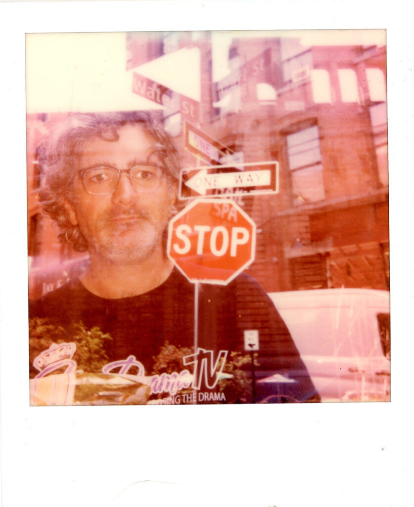 Polaroid Onestep+ sample man and stop sign