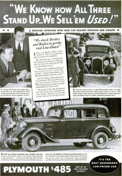DeLuxe Plymouth Sedan: August 1934