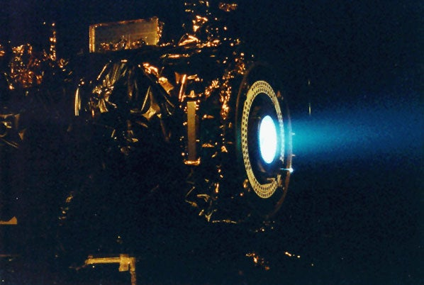blue flame emerging from machinery