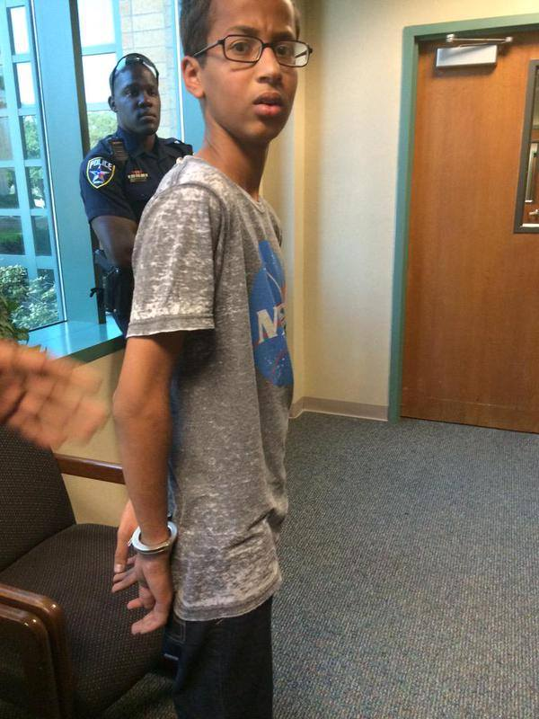 Ahmed Mohamed, 14, was arrested by Texas police after his homemade clock was mistaken for a bomb