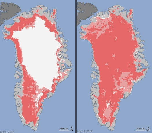 In Record Summer Heat, 97 Percent of Greenland's Surface Ice Turns to Slush