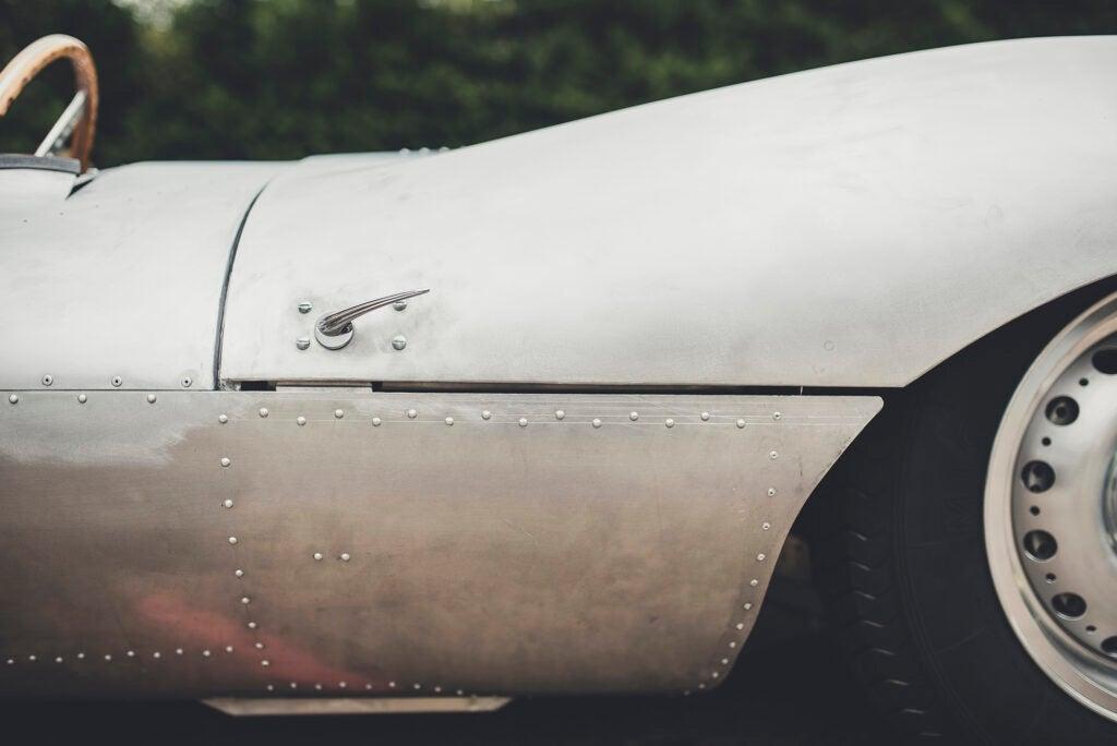 Side body shot of Jaguar's recreated XKSS