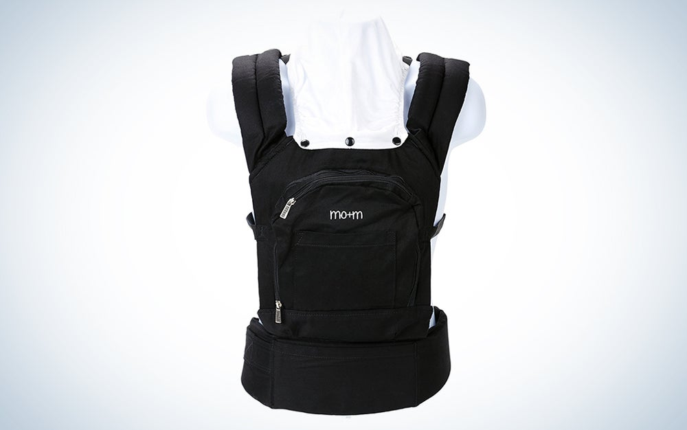 Mo+m Ergonomic Baby Carrier Soft Structured Sling w/ Mesh Cooling Vent, Hood & Pockets